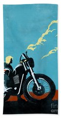 Retro Scrambler Motorbike Hand Towel