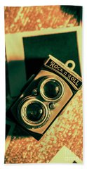 Retro Toy Camera On Photo Background Hand Towel