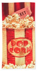 Retro Tub Of Butter Popcorn And Ticket Stub Bath Towel