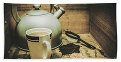 Retro Vintage Toned Tea Still Life In Crate Bath Towel