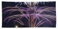 Reunion Tower Fireworks Bath Towel