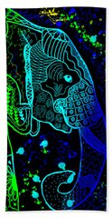 Rainbow Zentangle Elephant With Black Background Bath Towel