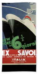 Rex, Conte Di Savoia - Italian Ocean Liners To New York - Vintage Travel Advertising Posters Bath Towel