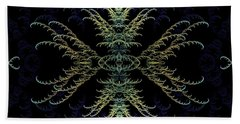 Hand Towel featuring the digital art Rhapsody In Blue And Gold by Lea Wiggins