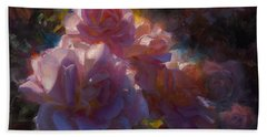 Hand Towel featuring the painting Rhapsody Roses - Flowers In The Garden Painting by Karen Whitworth