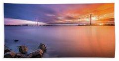 Rhine Bridge Sunset Hand Towel