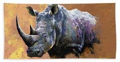 Rhino Bath Towel by Anthony Mwangi