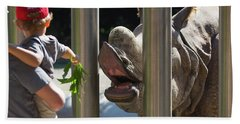 Rhino Eating Grass Hand Towel