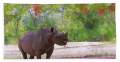 Hand Towel featuring the painting Rhino Impressions by Judy Kay