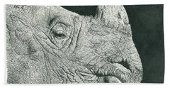 Rhino Pencil Drawing Bath Towel