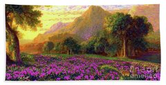 Rhododendrons, Rabbits And Radiant Memories Bath Towel