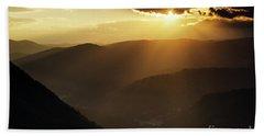 Rhodope Mountains Sunset Bath Towel