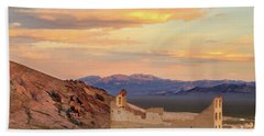 Bath Towel featuring the photograph Rhyolite Bank At Sunset by James Eddy
