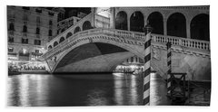 Rialto Bridge Black And White  Hand Towel
