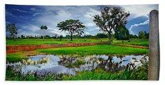 Rice Paddy View Hand Towel by Ian Gledhill