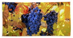 Rich Fall Colors With Grapes Hand Towel
