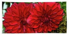 Rich Red Dahlias By Kaye Menner Hand Towel by Kaye Menner