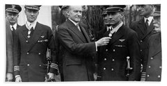 Richard Byrd And Floyd Bennett - Medal Of Honor Presentation - 1927 Hand Towel