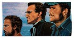 Jaws With Richard Dreyfuss, Roy Scheider And Robert Shaw Bath Towel