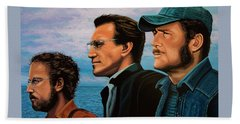 Jaws With Richard Dreyfuss, Roy Scheider And Robert Shaw Bath Towel by Paul Meijering
