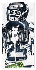 Richard Sherman Seattle Seahawks Pixel Art 4 Bath Towel by Joe Hamilton