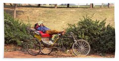 Hand Towel featuring the photograph Rickshaw Rider Relaxing by Travel Pics