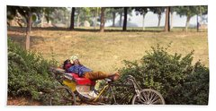 Rickshaw Rider Relaxing Hand Towel by Travel Pics