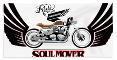 Ride With Passion Cafe Racer Bath Towel
