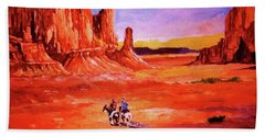 Riders In The Valley Of The Giants Bath Towel