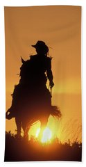 Riding Cowgirl Sunset Bath Towel