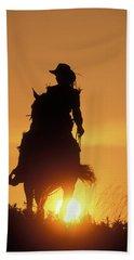 Riding Cowgirl Sunset Bath Towel