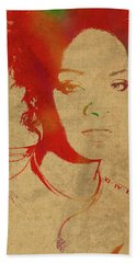 Rihanna Watercolor Portrait Hand Towel