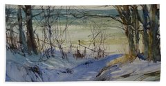 Hand Towel featuring the painting Riley Beach December by Sandra Strohschein