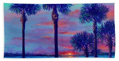 Hand Towel featuring the painting Ringling Bridge Sunset by Lou Ann Bagnall