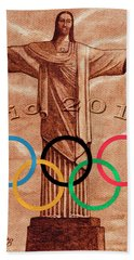 Bath Towel featuring the painting Rio 2016 Christ The Redeemer Statue Artwork by Georgeta Blanaru