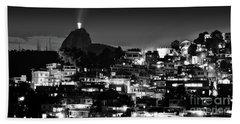 Rio De Janeiro - Christ The Redeemer On Corcovado, Mountains And Slums Hand Towel
