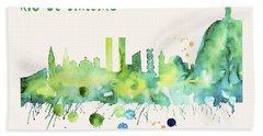Rio De Janeiro Skyline Watercolor Poster - Cityscape Painting Artwork Hand Towel