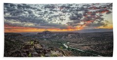Rio Grande River Sunrise 2 - White Rock New Mexico Bath Towel by Brian Harig