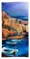Bath Towel featuring the painting Riomaggiore - Cinque Terre by Elise Palmigiani