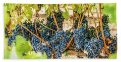Ripe Grapes On Vine Hand Towel