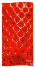 Ripe Red Fresh Strawberry Texture And Detail Hand Towel