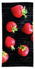 Ripe Strawberries On Back Plate Hand Towel