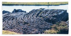 Rippled Lava At The Mid-atlantic Rise In Thingvellir, Iceland Bath Towel by Allan Levin
