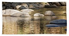 Hand Towel featuring the photograph Ripples And Rocks by Linda Lees