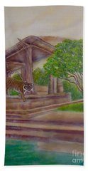 Rising Spirit Of The Tiger With The Sun Hand Towel
