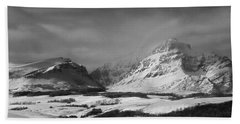 Rising Wolf Mountain- Winter - Black And White Bath Towel