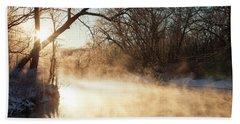 River Fog At Sunrise Hand Towel