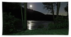 River In Moonlight Bath Towel