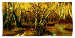 Bath Towel featuring the painting River In The Forest by Henryk Gorecki