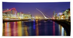 River Liffey In Dublin At Dusk Hand Towel